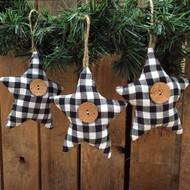 Black & White Mini Buffalo Plaid Homespun Fabric Star Christmas Ornaments - Set of 3