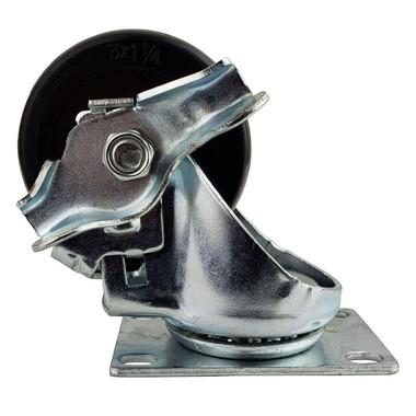 Caster, swivel with brake, for all cart and pedestal models, Side View