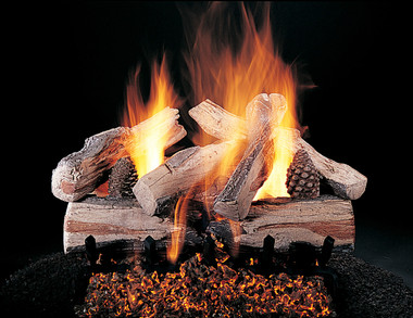 "Evening CrossFire by Rasmussen Gas Logs, 24-inch set size on FX burner and 5/8"" Grate."