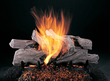 "Evening Campfire by Rasmussen Gas Logs (shown in 24-inch set size on FX burner and 5/8"" Grate)"