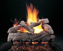 "Manzanita by Rasmussen Gas Logs (shown in 24-inch set size with FX burner and 5/8"" grate)"
