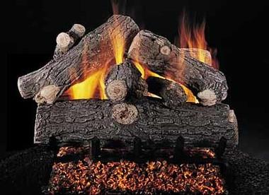 """Prestige Oak 24"""" set size on FX burner by Rasmussen Gas Logs"""
