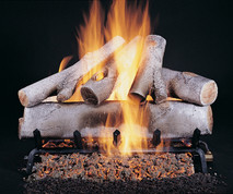 "Birch Logs (Shown in 24"" set size with FX burner and 5/8"" grate) by Rasmussen Gas Logs"