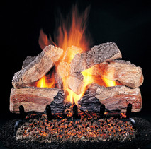 "Evening Desire Logs (shown: 24-inch set size on FX burner and 5/8"" Grate) by Rasmussen Gas Logs"