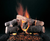"Evening Lone Star Logs (shown in 24-inch set size with FX burner and 5/8"" grate) by Rasmussen Gas Logs"