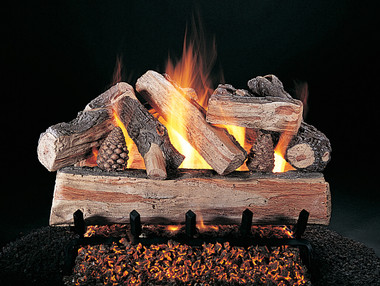 """CrossFire (XF) Logs (shown on FX burner and 5/8"""" grate) by Rasmussen Gas Logs"""
