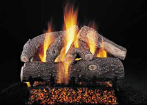 "Double Face Frosted Oak 24"" set size on FX burner by Rasmussen Gas Logs"