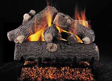 """Double Face Prestige Oak 24"""" set size on FX burner by Rasmussen Gas Logs"""