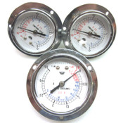 Lot of 3 OSAKA R22 Compound Gauges 0 - 1.5 MPa & 0 - 3.5 MPa Gauge AC Heating