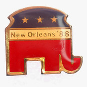 "(Lot:292) NEW Old Stock 1.1"" New Orleans '88 Republican Elephant Pins Tie Tack"