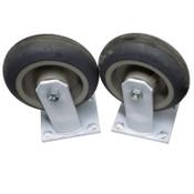"""(Lot of 2) Algood 6560 Industrial Heavy-Duty White Welded Steel 6"""" Caster Wheels"""
