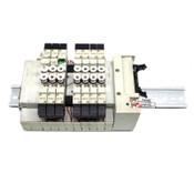 (8) CKD N4GA1-V2 Solenoid Air Valves w/ (7) 3GA1669, N4G1-T50 Terminal Block DIN