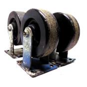 "(4) Industrial J&J Casters 6"" x 2"" Galvanized Steel Fixed Non-Locking Heavy Duty"