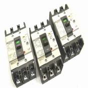 (3) Metasol LS EBN-53c 3-Pole 15A Molded Case ELCB Circuit Breakers 220-460V