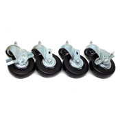 "(Lot of 4) Industrial Casters 4"" x 1.125"" Swivel Locking Heavy Duty Steel"