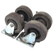 "(Lot of 4) Casters 4"" x 1.25"" Heavy Duty Industrial All Steel Swivel and Locking"