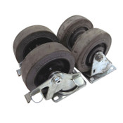 "(Lot of 4) Casters 4"" x 1.25"" Heavy Duty Industrial All Steel 2 Fixed 2 Swivel"