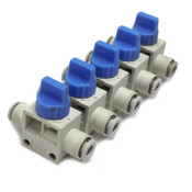 (5) SMC VHK3-06F-06F Finger Valves Blue Rotary Knob Industrial Air Cylinders