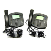 (Lot of 2) Polycom 2201-11601-001 Soundpoint IP 601 SIP VolP Phones w/ Stand/Pwr