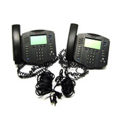 (Lot of 2) Polycom 2201-11601-001 Soundpoint IP 601 SIP VolP Phones, Stand & Pwr