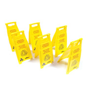 (Lot of 6) Continental Model 119 Bright Yellow Wet Floor Folding Caution Stands
