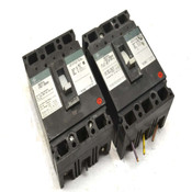 (2) General Electric GE TED134015GR 3-Pole 15A Industrial Circuit Breakers