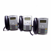 (Lot of 3) Nortel 1120E Business IP Desk Phones with Stands, Handsets and Cords
