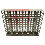"""Stainless Steel Vertical Laboratory Freezer Racks 26-1/2"""" Tall Red (6)"""