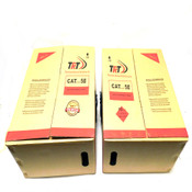 Lot 2 - 1000' Cat5e Cat 5e Ethernet Cable Network LAN TRT E224758 Gray