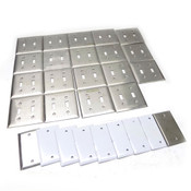 (Lot of 19) Hubble Stainless Steel 2-Gang Switch Cover Plates w/(9) Blank Plates