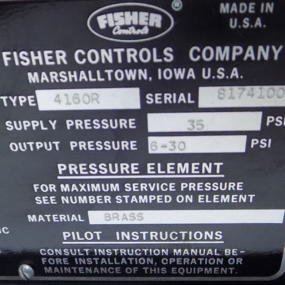 Fisher Controls 4160R Pneumatic Pressure Controller, 4160 Series, 35 PSI  Supply