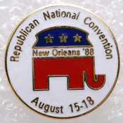 "(Lot:93) NEW Old Stock 1"" Round New Orleans '88 Republican Elephant Pin Tie Tack"