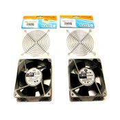 (Lot of 2) Oriental ORIX Model MU1238A-11B 120mm Axial Cooling Fans w/Fan Guards