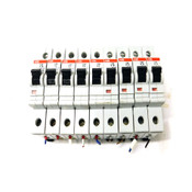 (Lot of 9) ABB Assorted 1-4A Single Pole Circuit Breakers w/ SZ-KS 16/12N Busbar
