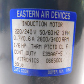 Eastern Air Devices Induction Motor Model E39AAF-5 220/240 VAC 2800/3400 RPM