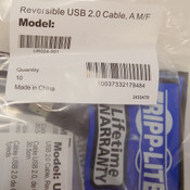 (10) NEW Tripp Lite UR024-001 Universal 1-ft Reversible USB 2.0 Extension Cables
