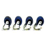 (Lot of 4) Penn-Elcom 100mm X 38 mm Galvanized Steel Swivel Caster Wheels