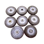 """(Lot of 8) Colson Hi-Tech Performa Rubber 5"""" x 1-5/16"""" Round Grey Caster Wheels"""