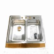 """Elkay Lustertone Double Bowl Kitchen Sink SS Drop-In 4-Hole 33"""" x 21-1/4"""" x 6"""""""