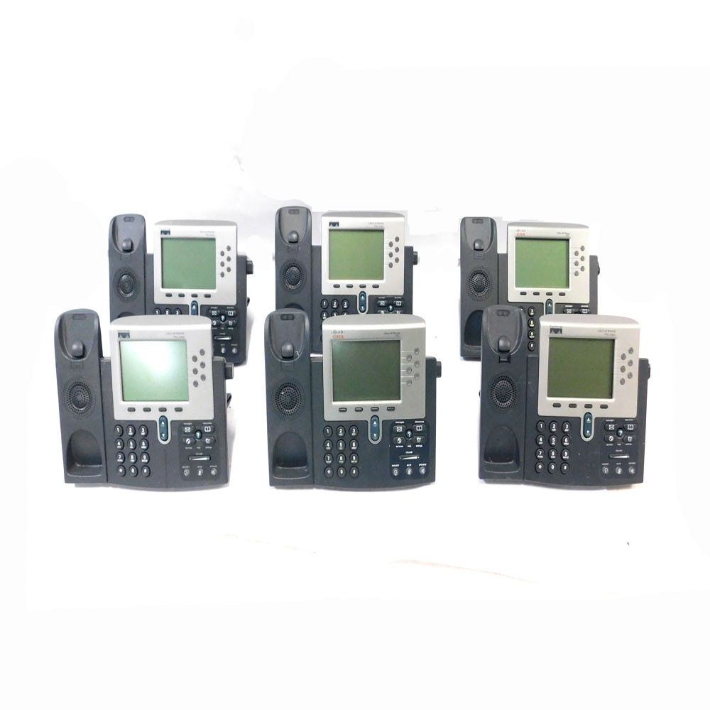 (Lot of 6) Cisco 7961 IP Business Conference Telephones 48 VDC No Handsets