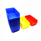 "Akro-Mils 30-130 Stacking Bins (10)Blue(1)Red(1)Yellow 11.5""x6.25""x4"""