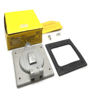 NEW Hubbell 7777 Gray Polycarbonate Weatherproof Lift Cover Plate (2-Gang Size)