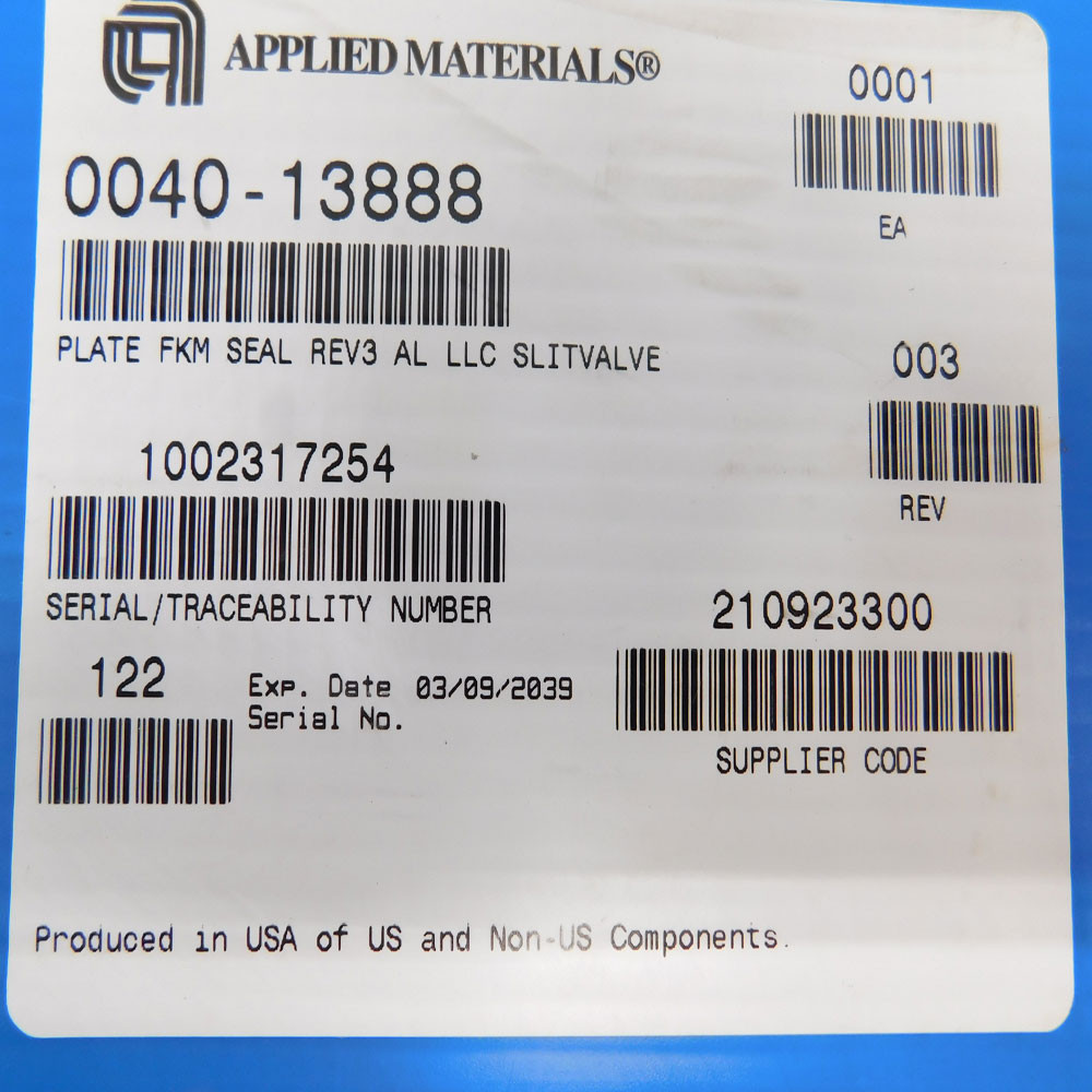 NEW Applied Materials AMAT 0040-13888 Plate FKM Seal Slit Valve Door w/  O-Ring