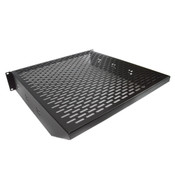 "NEW Heavy Duty 19"" Black Vented 2U Rackmount Equipment Shelf for Server Cabinet"
