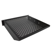 "Heavy Duty 19"" Black Vented 2U Rackmount Equipment Shelf for Server Cabinet"