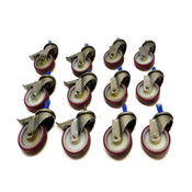 "(Lot Of 12)NEW Red Polyurethane Caster Wheels 4""x1.25"" (6) Stops (6) Non-Locking"