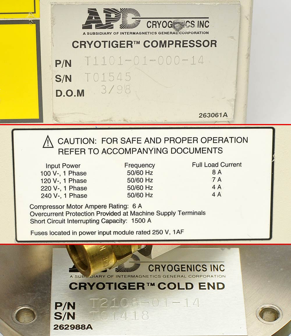 IGC APD T1101-01-000-14 Cryotiger Compressor w/ T2108-01-14 Cold End Cryo  Tiger