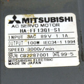 Mitsubishi HA-FF13G1-S1 3000r/min Input - 3AC 89V 1.1A Output - 100W Servo Motor