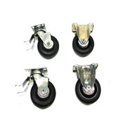 "Darcor 64-R Series 4"" Rubber Ball Bearing Swivel Casters (4) w/ Stops (2)"