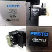 (Lot of 2) Festo CPE18-M1H-5L-1/4 Pneumatic Solenoid Valve w/ CPE18-PRSG-2 Block